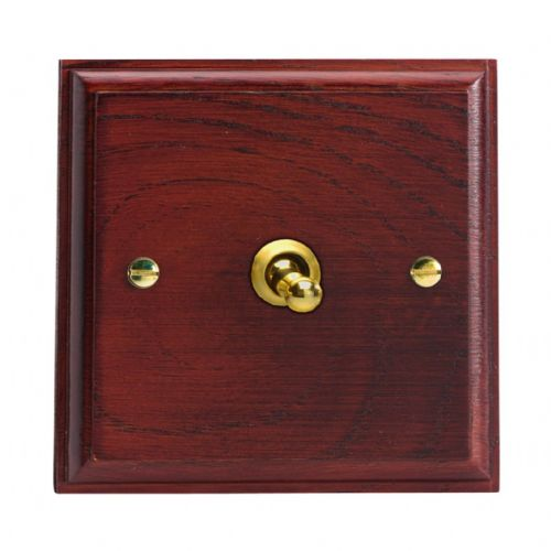 Varilight XKT1M Kilnwood Mahogany 1 Gang 10A 1 or 2 Way Toggle Light Switch